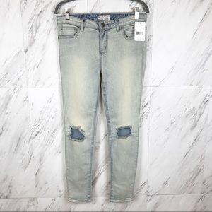 Free People Destroyed Skinny Mid Rise Ankle Jeans